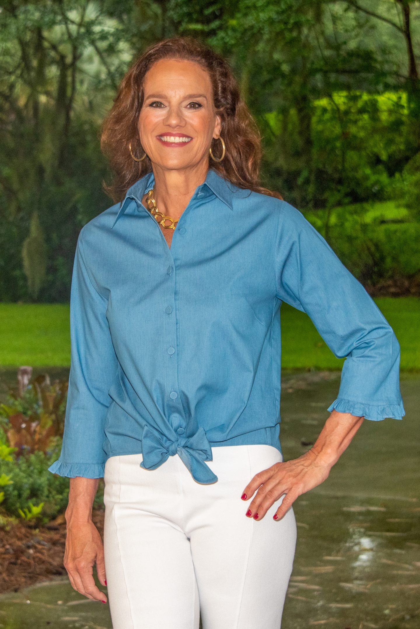 Liza Tie Front 3-4 Sleeve Blouse Front Light Chambray- Diane Bailey Designs