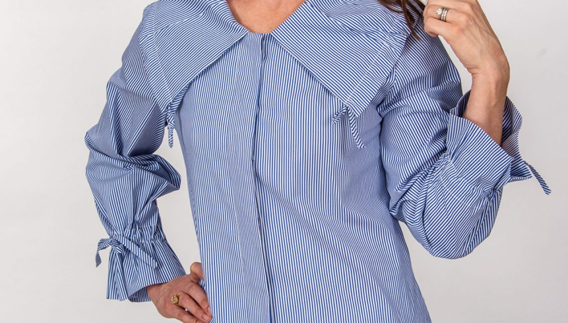 Ginny Pleated Collar Tunic Top Front Blue Stripe- Diane Bailey Designs-